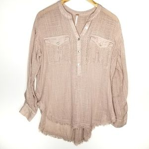 Free People Blush Half Button Long Sleeve Blouse